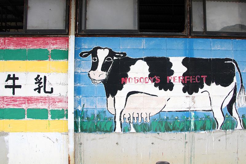 箸荷牧場の壁に描かれた牛