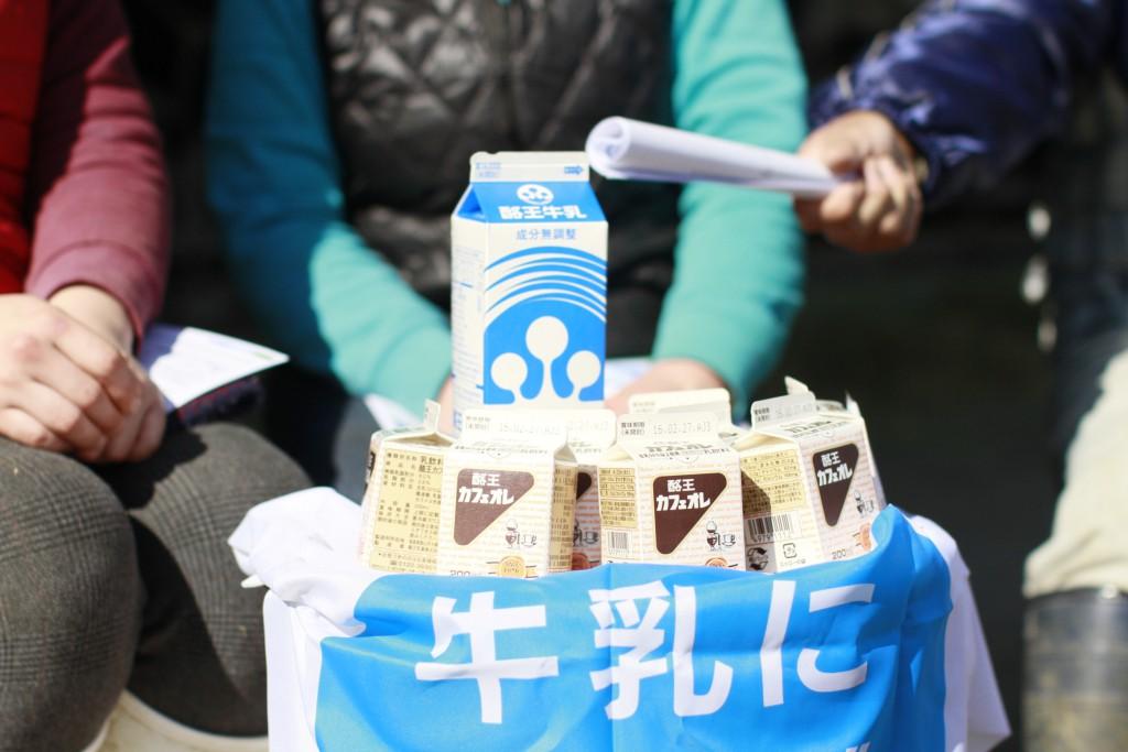 木目澤牧場の牛乳と酪王カフェオレ