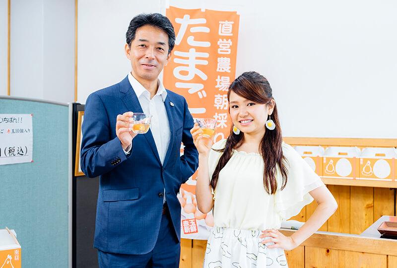 たまごソムリエの友加里さんと松本米穀精麦株式会社の松本さん