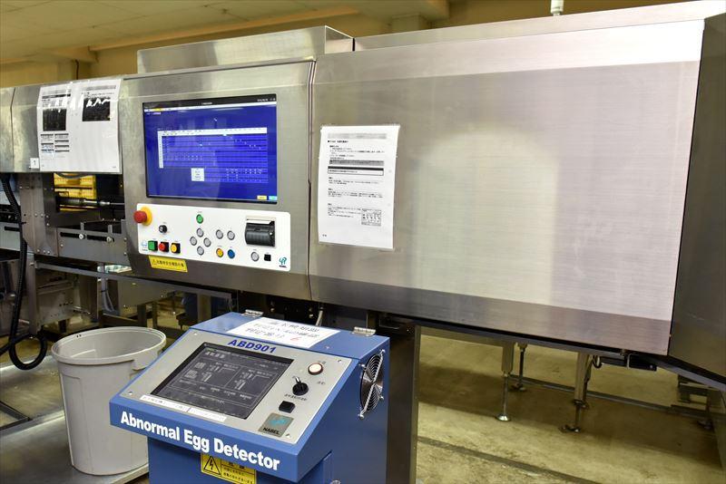 倉持産業にある卵の中を検査する装置