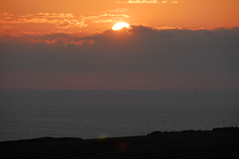 宗谷岬牧場から見られる夕日