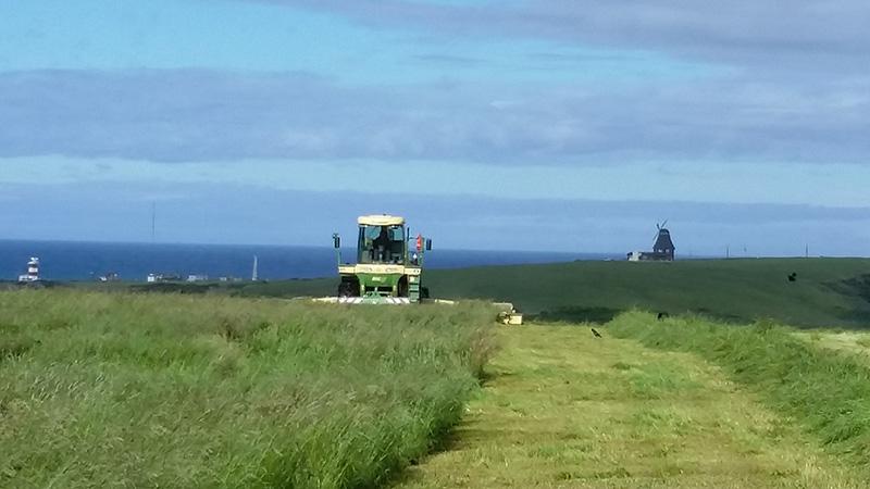 宗谷岬牧場で作業中のトラクター