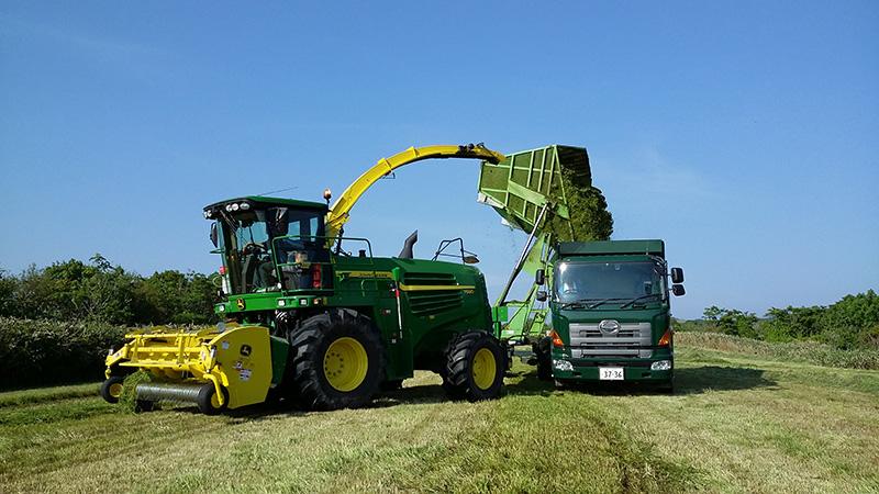 宗谷岬牧場で刈った草をトラックへ移す様子
