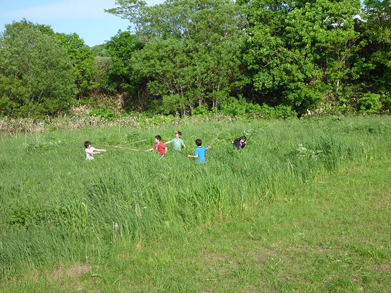 野遊びする子どもたち