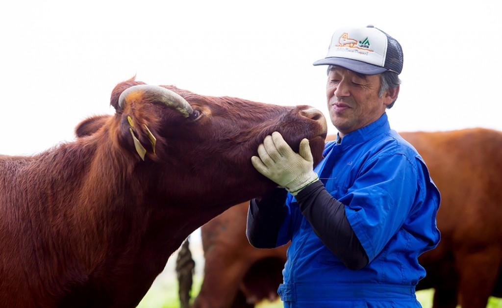 高橋ファームの高橋さんと短角牛