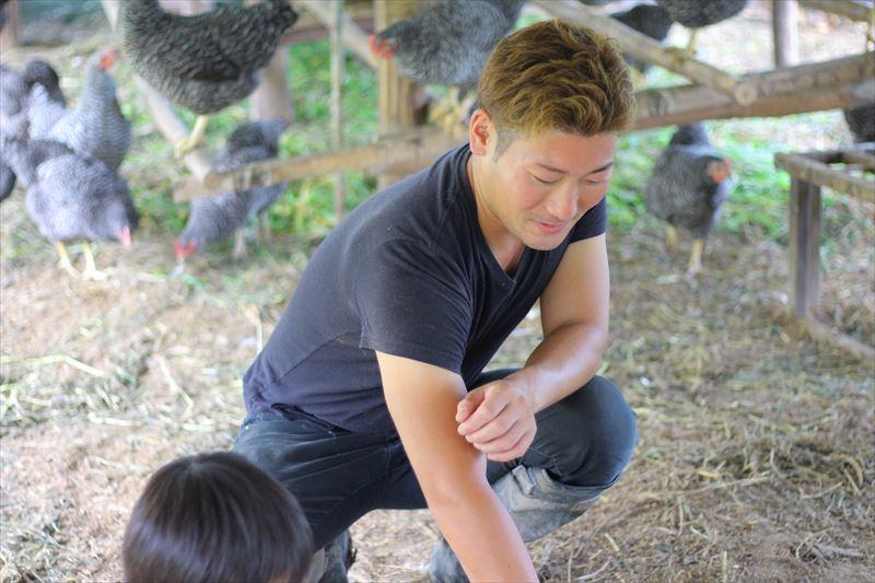 鶏の様子を見る菊池さん