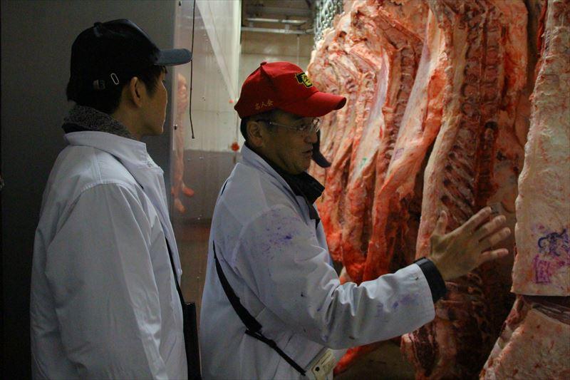枝肉講習会の肉を観察する様子